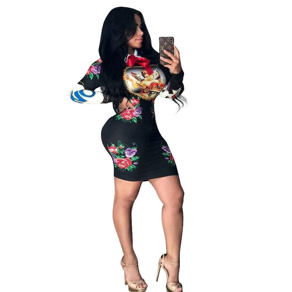 Дизайнер Дамы Тонкий Hip печати платье моды Питер Пэн воротник женщин с длинным рукавом Sexy Club Mini партия платье принцессы Vestidos горячее