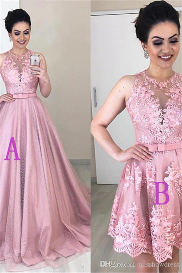 Two Pieces In One Lace Long Prom Dresses Tulle Applique Short Bow Sash Sweep Train Formal Party Homecoming Dresses 2020