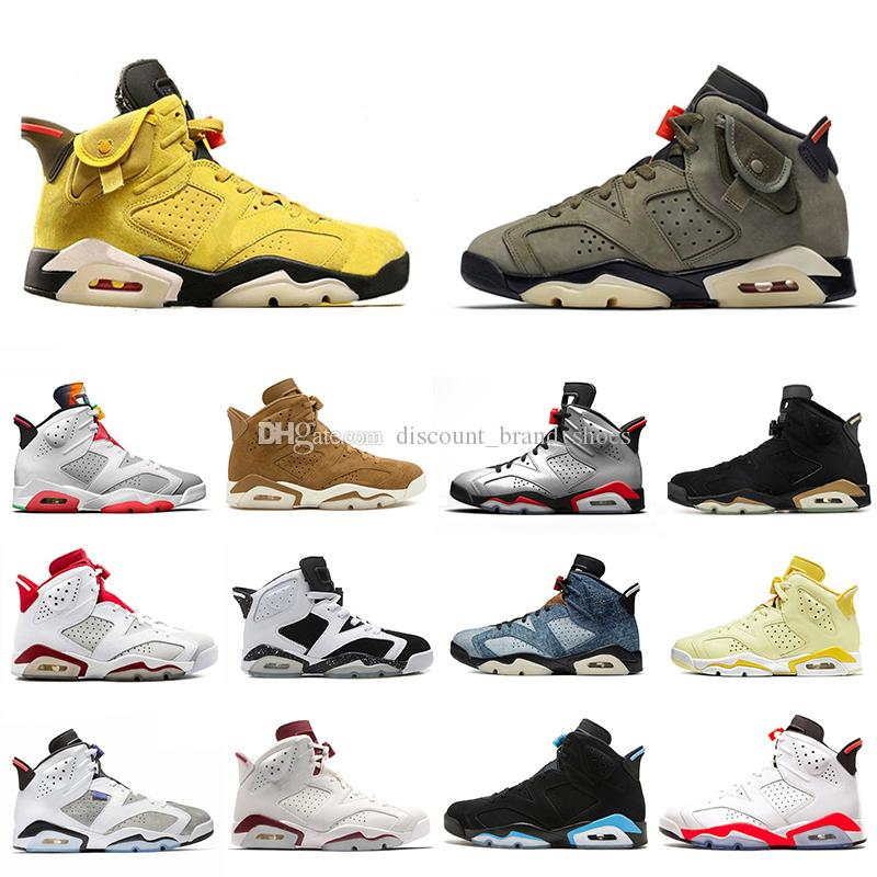 Nike AIR JORDAN Retro 6 shoes 2019 DMP 6 PSG 6 s Homens tênis De Basquete UNC Tinker Gatorade Infravermelho Preto Alternate Trigo Esporte Azul Oregon Mens sports sneaker EUA 7-13