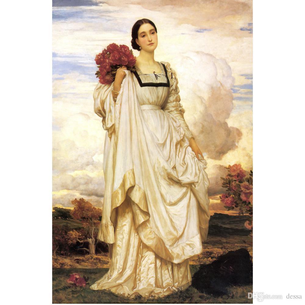 Frederic Leighton ritratto dipinto La pittura a olio dipinta a mano Contessa Brownlow tela decorazione della parete classica
