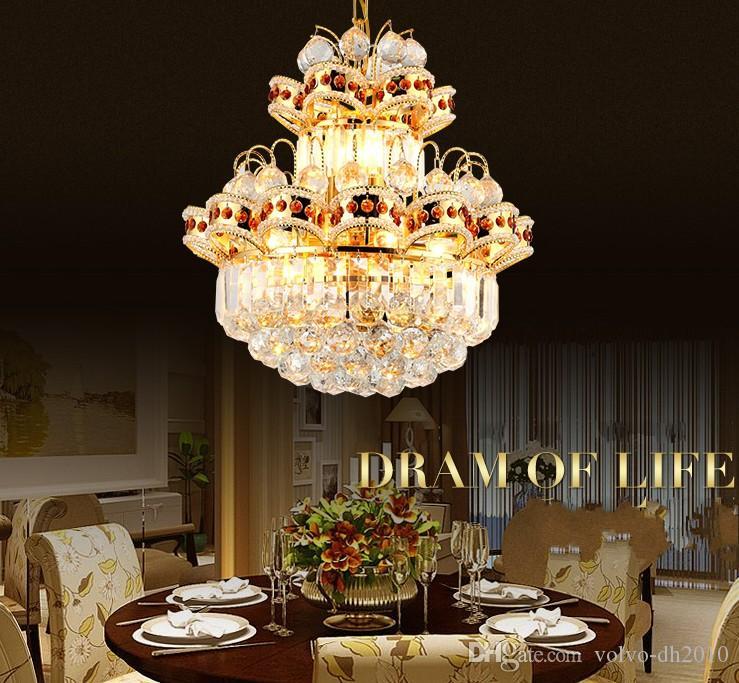 European Golden LED luster chandeliers Modern crystal LED living room restaurant simple chandelier Light fixtures LLFA