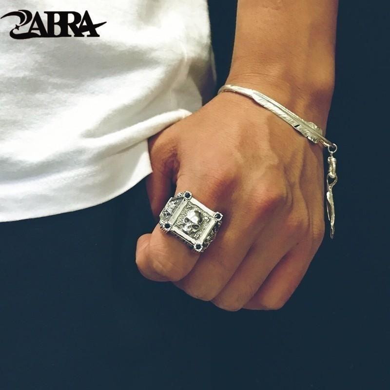 ZABRA Adjustable Size 925 Sterling Silver Skull Rings For Men Zircon Ring Vintage Puck Rock Biker Jewelry V191114