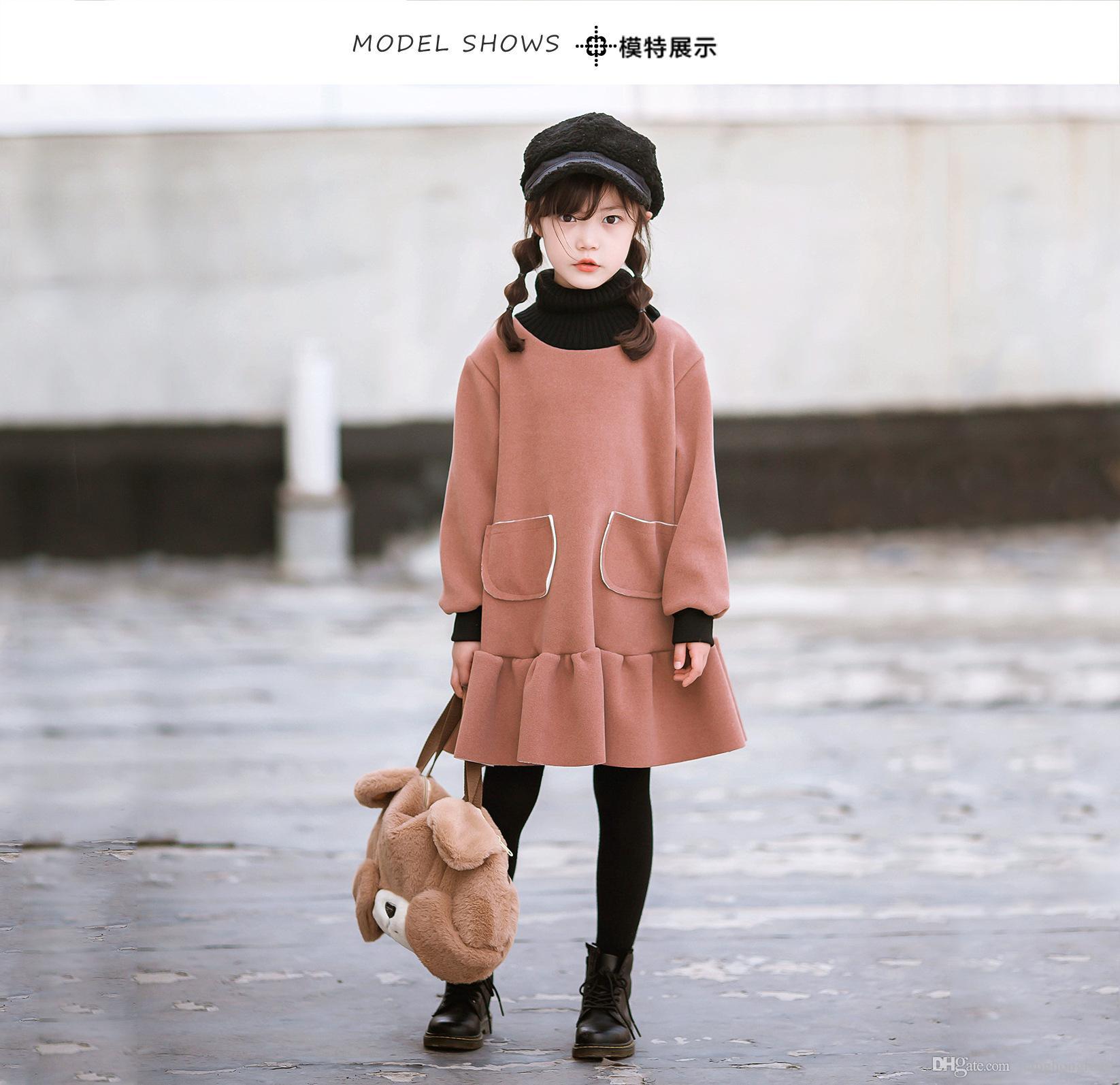 Filles Col haut chaud robe automne hiver Nouveau velours pour enfants épais Princesse Robes enfants Belle Ruffles Un Vêtements Piece