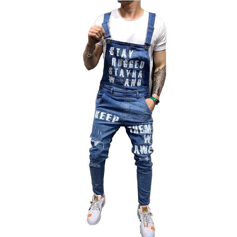 Erkek Streetwear Suspender Pantolon Boyut S-XXL İçin Mcikkny Erkek Ripped Denim Jeans Önlüğü tulumları Harf Baskılı Jeans Jumpsuit