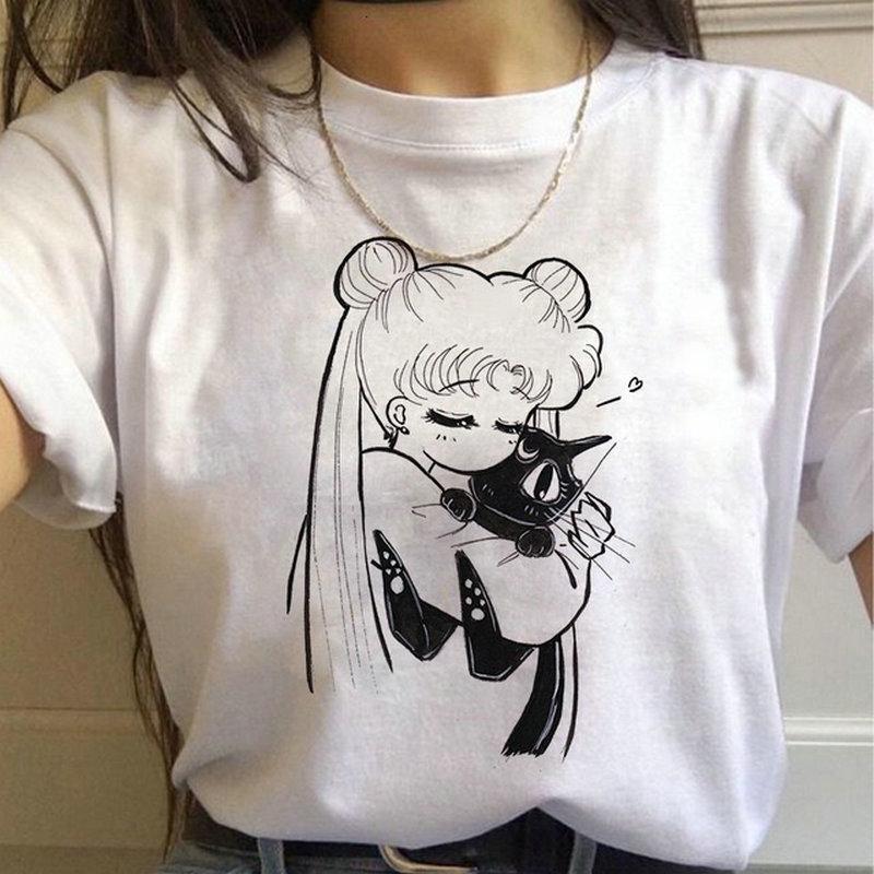 세일러 문 T 셔츠 하라주쿠 여성 여름 캐주얼 의류 짧은 소매 티 셔츠 팜므 그래픽 티즈 여성 한국어 스타일 탑