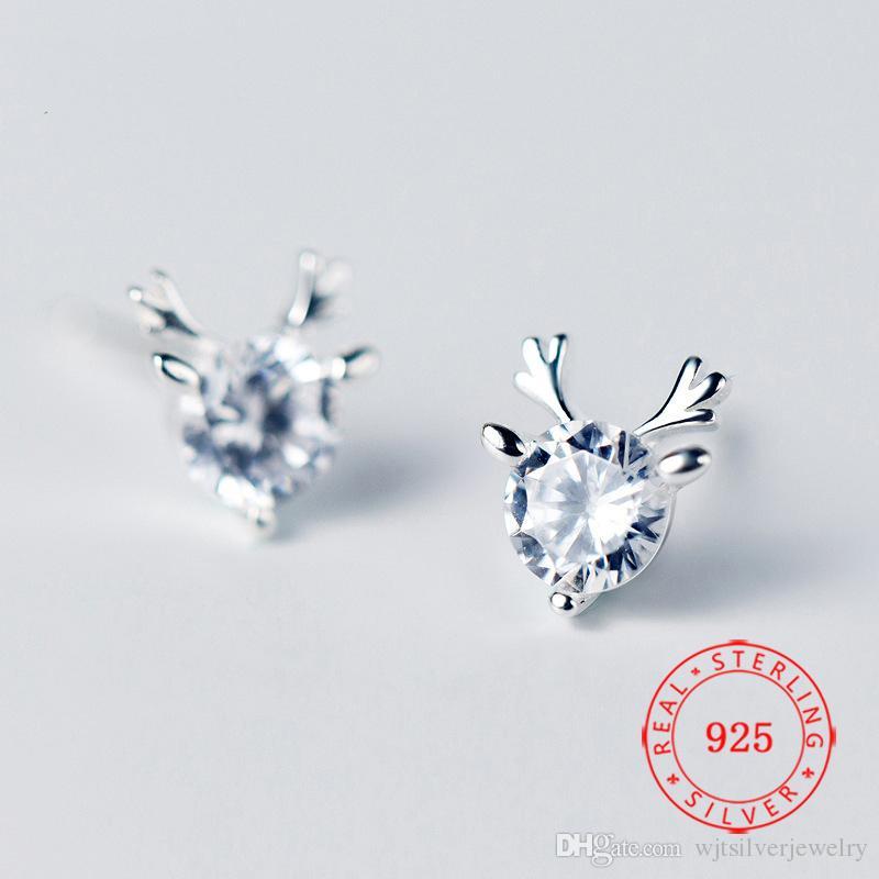 925 Pendientes Tiny Elk Animal plata esterlina ciervos cornamenta del cuerno Pendientes de regalo de Navidad Mujeres Niños circón cúbico Jewellry