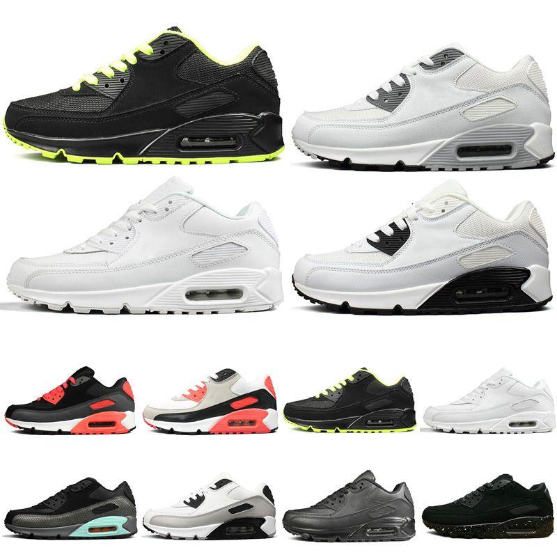 nike air max 90 2019 Barato Running Shoes para mens preto croc Almofada Triplo Preto Branco INFRAVERMELHO COURO Treinadores de velocidade designer Sports Sneakers.