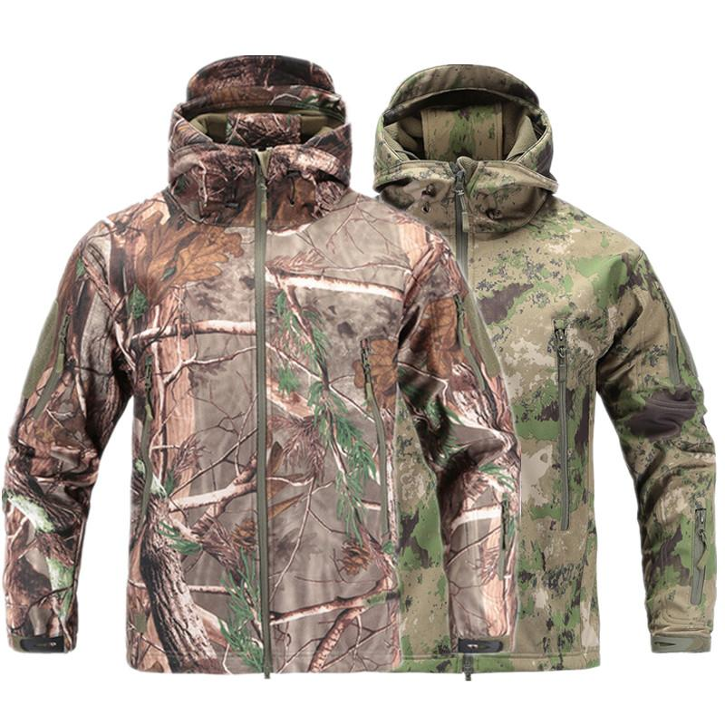 SoftShell V4 Military Tactical Jacket Men Waterproof Windproof Warm Camouflage Hooded Camo Army Clothing T190919