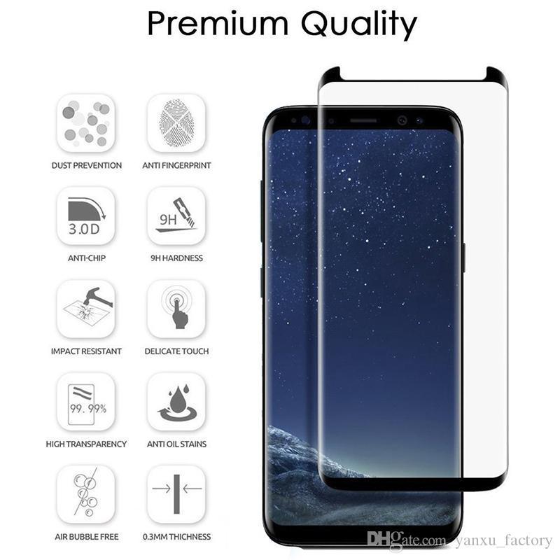 3D pleine couverture Cas amical en verre trempé pour Samsung S20 Ultra S10 5G E S9 S8 plus S7edge Note10Plus Note9 Note8 Screen Protector
