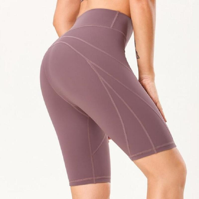 Frauen-Sport-Yoga Laufen kurze Gym Strumpfhosen Leggings Nahtlose Knielänge Hoch Stretchy High Waist Run Fitness Shorts