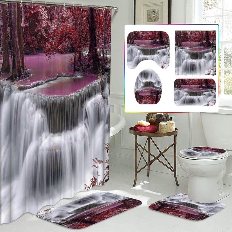 Bella Cascata Red Tree Shower Curtain Set impermeabile Bagno Tenda Tappeto antiscivolo Mats piedistallo Rug Toilet Seat Cover