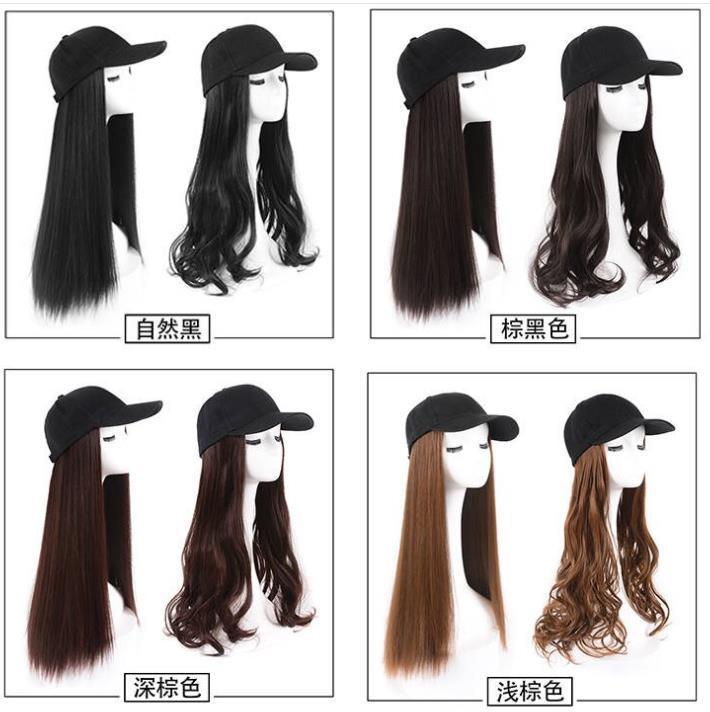 Gorra de béisbol con pelo sintético Brown Negro gris de pelo largo rizado con la gorra de béisbol femenino de la peluca