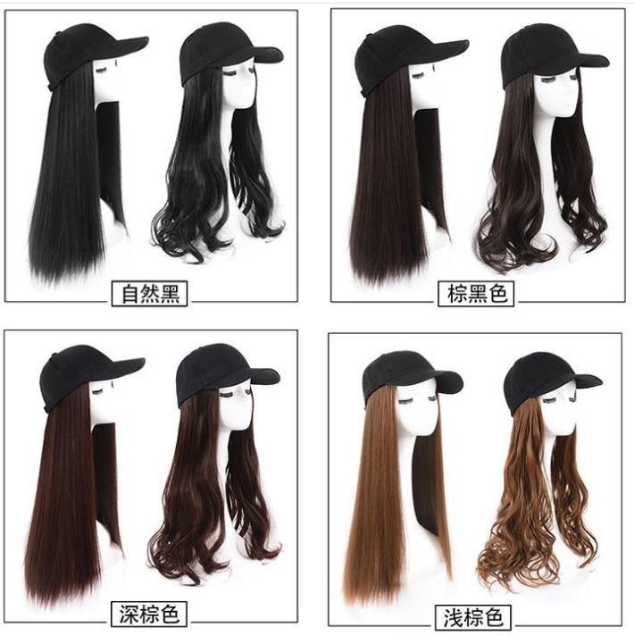Gorra de béisbol con cabello sintético marrón gris negro largo y rizado pelo con gorra de béisbol peluca hembra