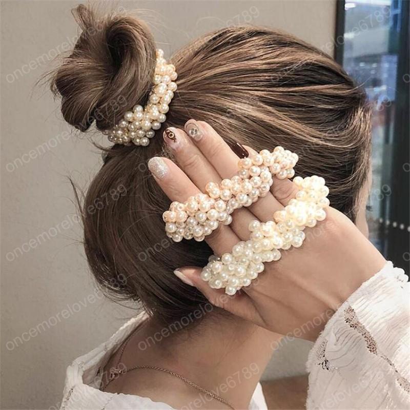 Perle Donne Di Stile Coreano Grils Rotonda Elastico Fasce Per Capelli Accessori Per Capelli Scrunchies Squisito Brillante Copricapi Capelli Gum