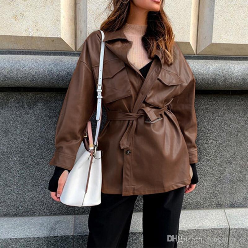 Preto PU Leather Mulheres Mini Vestido Com correia frouxa Botões pacotes mulheres vestidos curtos 2020 Primavera Outono Casual Senhora Roupas