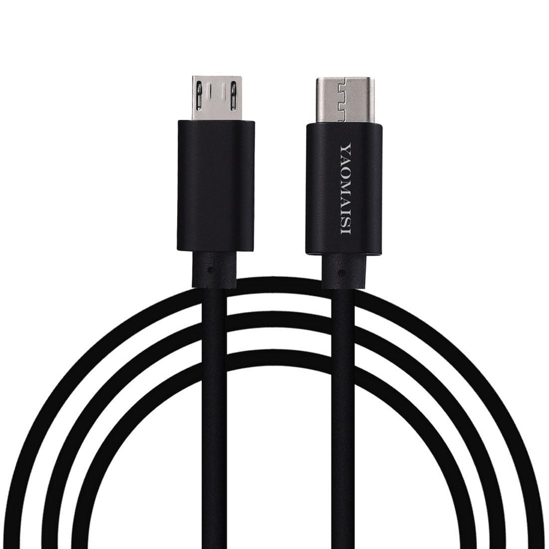 YAOMAISI 1m 3A Ausgang Aluminiumlegierung Typ-C zu Mikro-USB-Datenübertragungen Ladedatenkabel, für Galaxie, Huawei, Xiaomi, LG, HTC und andere