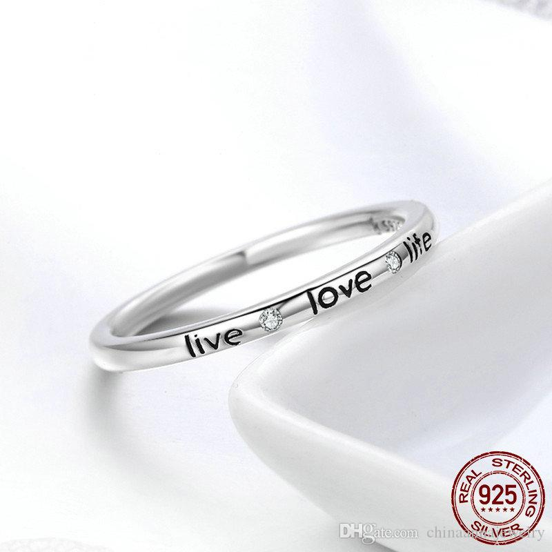 High-end Solid 925 Sterling Silver Finger Ring Letters Live Love Life Cz Gem Diamond Ring Boutique Personalized Fashion Jewelry Women Gifts