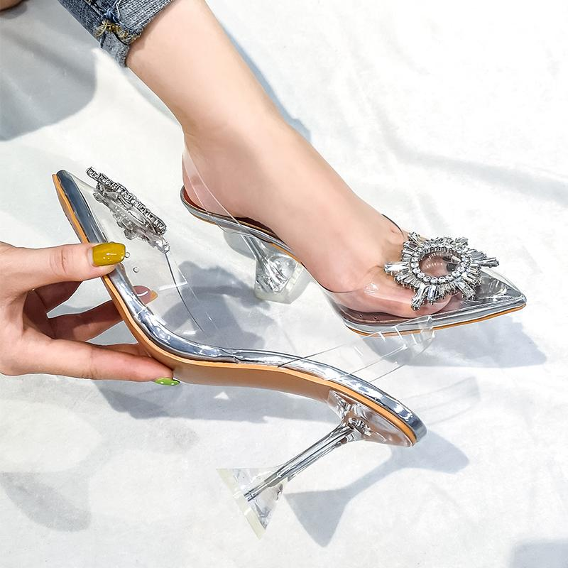 Transparent Sandals Women New Pointed Toe Summer Shoes Woman Rhinestone Women Pumps 2019 Crystal Wine Glass Heel Ladies Shoes