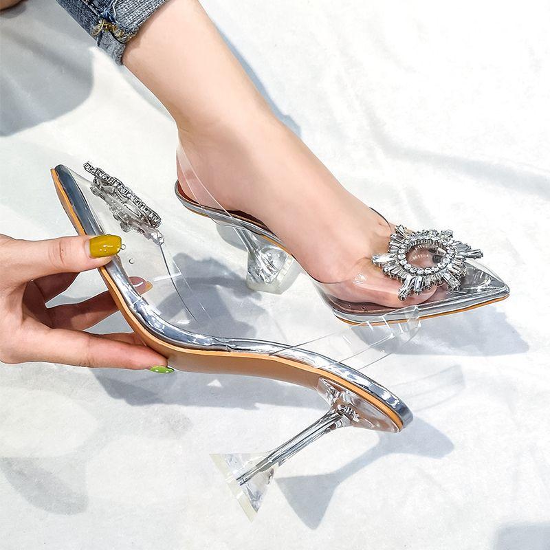 Transparent-Sandelholz-Frauen New Spitzschuh-Sommer-Schuhe Frau Strass-Frauen-Pumpen 2019 Kristallweinglas Heel Damenschuhe
