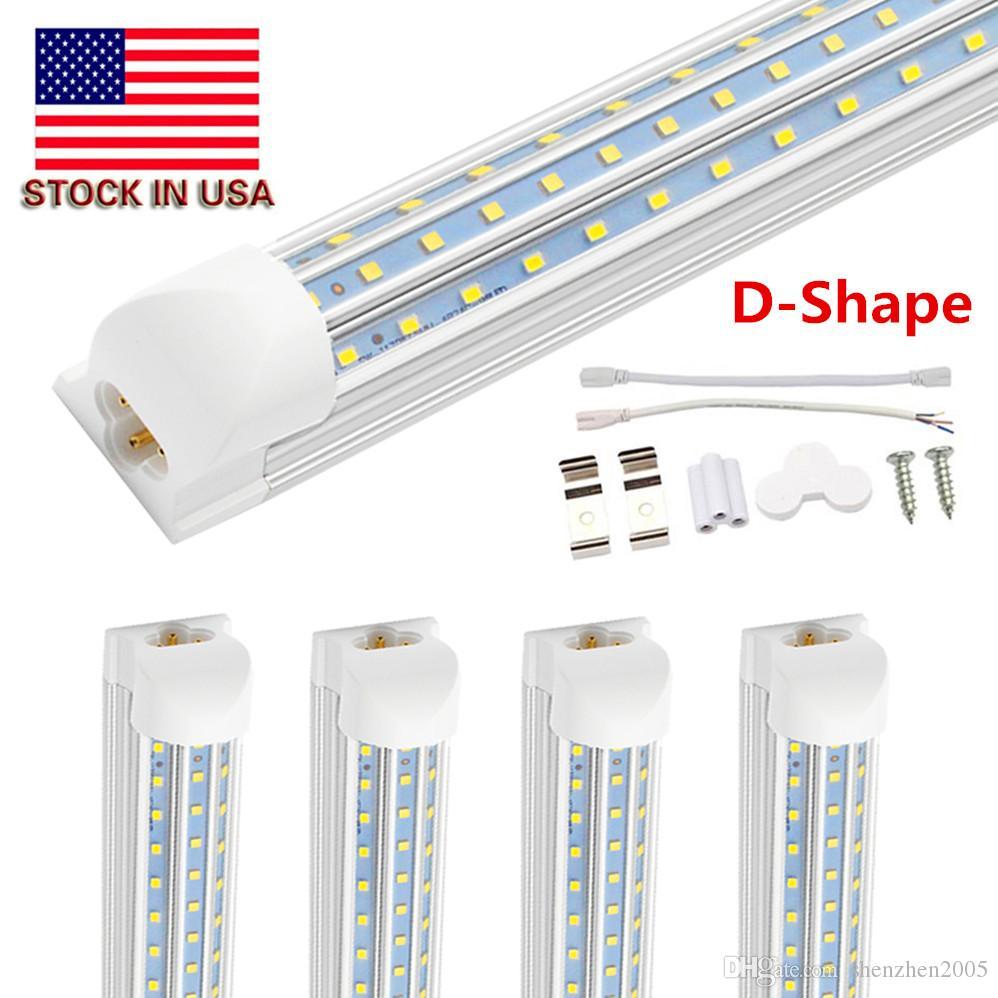 D Shaped V Shaped 4ft 8ft 120W Cooler Door Led Tubes T8 Integrated Led Tubes Triple Row Led Lights 100-305V Stock In US