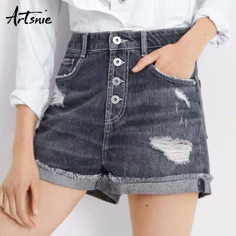 Artsnie streetwear hole ripped denim shorts women summer 2019 high waist double pockets jeans boyfriend button shorts mujer