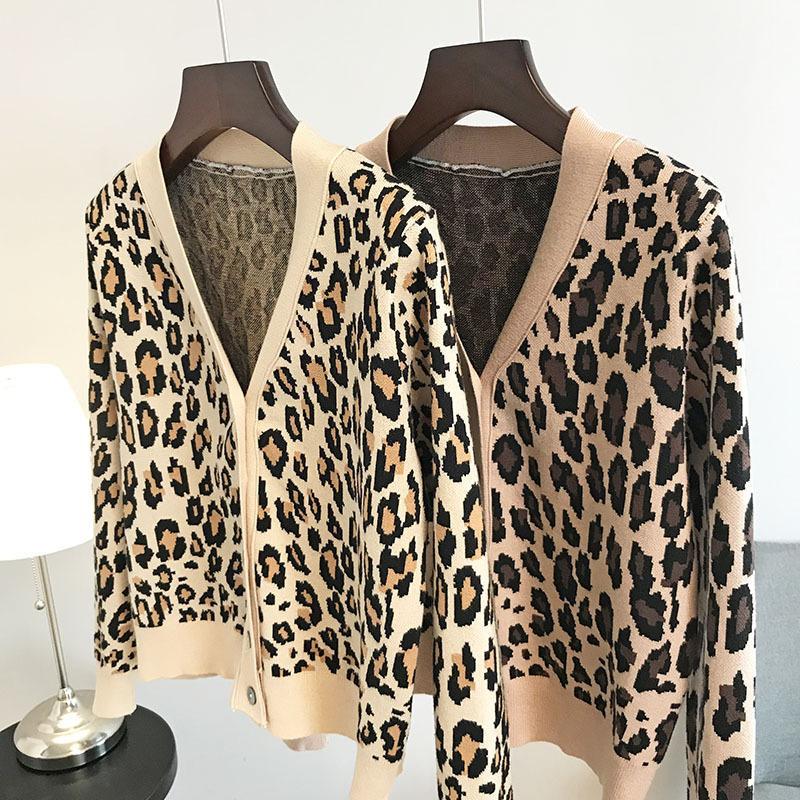 N14 2019 осень розовый / хаки леопардовый принт трикотажные кнопки кардиганы свитер с длинным рукавом V шеи мода свитера OS19SPRCAY254K