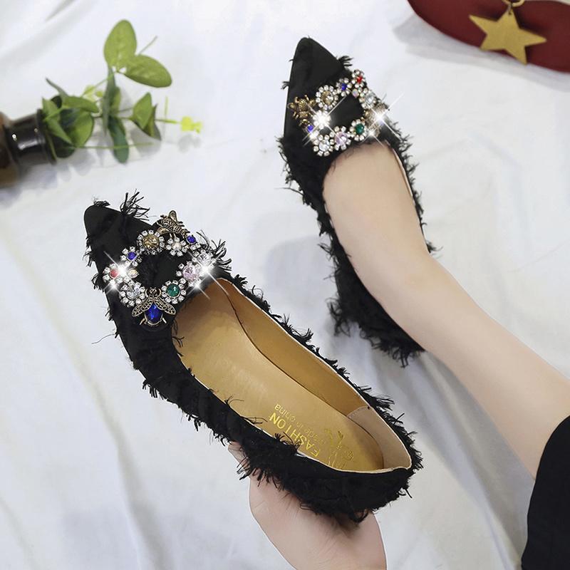 Cristal boucle carrée Femmes Pompes Lady Daim épais avec des chaussures simples Pointu Femme Talons hauts de mariage Parti U18-88