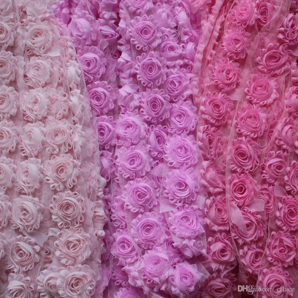 """bebek saç bantları için 15Y 2.5"""" perişan şifon çiçek, kızlar saç aksesuarları yıpranmış şifon çiçek, saç tokası şifon çiçekler"""