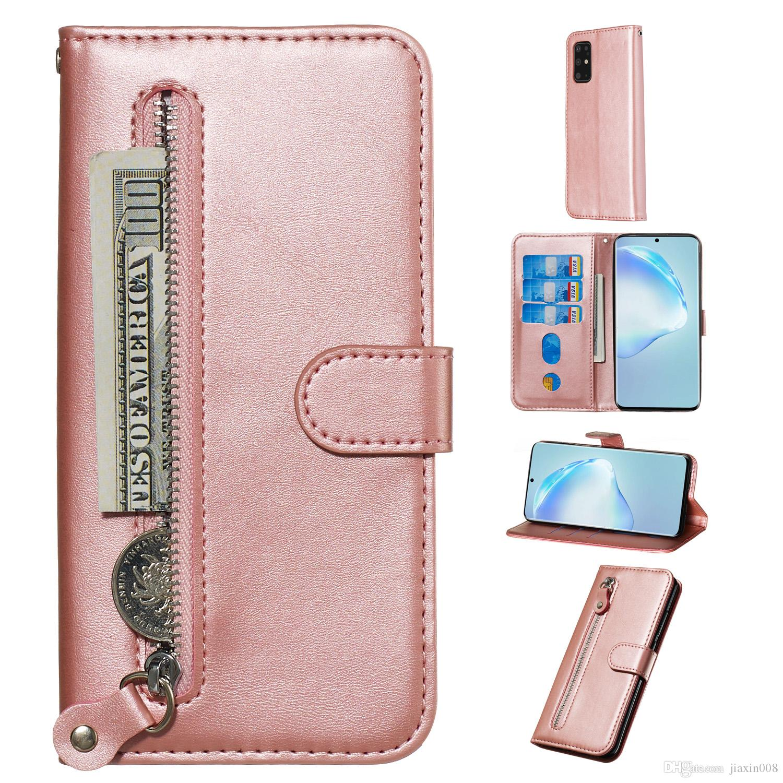Funda de cuero con cremallera pura para Samsung Galaxy S11 / S11E / S11 PULS / S20 / S20 PULS / S20 Ultra Cover Follet Stand Wallet con ranura para tarjeta
