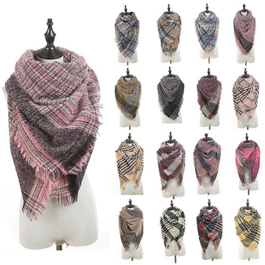 Треугольник плед шарф 40 цветов 135 * 135 * 190 см женщины зима кашемир пашмина вязаный теплый кисточкой шарфы обертывания LJJO7149