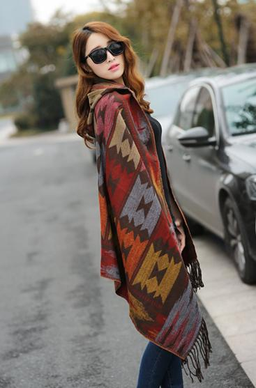 Bohemian Cape Poncho Shawl Scarf Tribal Fringe Hoodies Jacket Ethnic Warm Cardigans For Women 2015 new wool blankets cape shawl