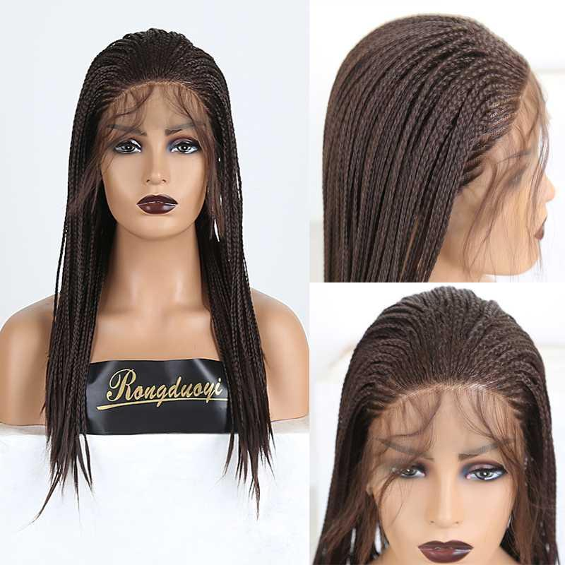 RONGDUOYI Medium Brown Hair Synthetic Lace Front Wig Long Braided Box Braids Wigs for Women Heat Resistant Fiber Hair Lace Wig