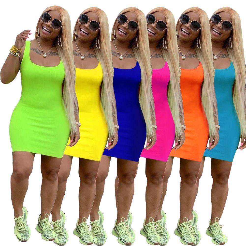 Damen Tankkleid Ärmelloser Doppelschaufel Lässig Bodycon Tankkleid Feste Grün Orange Sommer Sexy Einfache Camisole Mini Kleider XJMSP