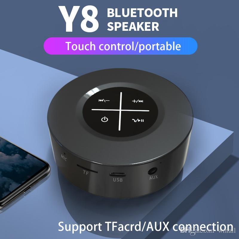 Altavoz Bluetooth inalámbrico Y8 Pantalla táctil portátil Altavoz estéreo Subwoofer AUX Audio Tarjeta TF Reproductor de música MP3 con micrófono para teléfono inteligente PC