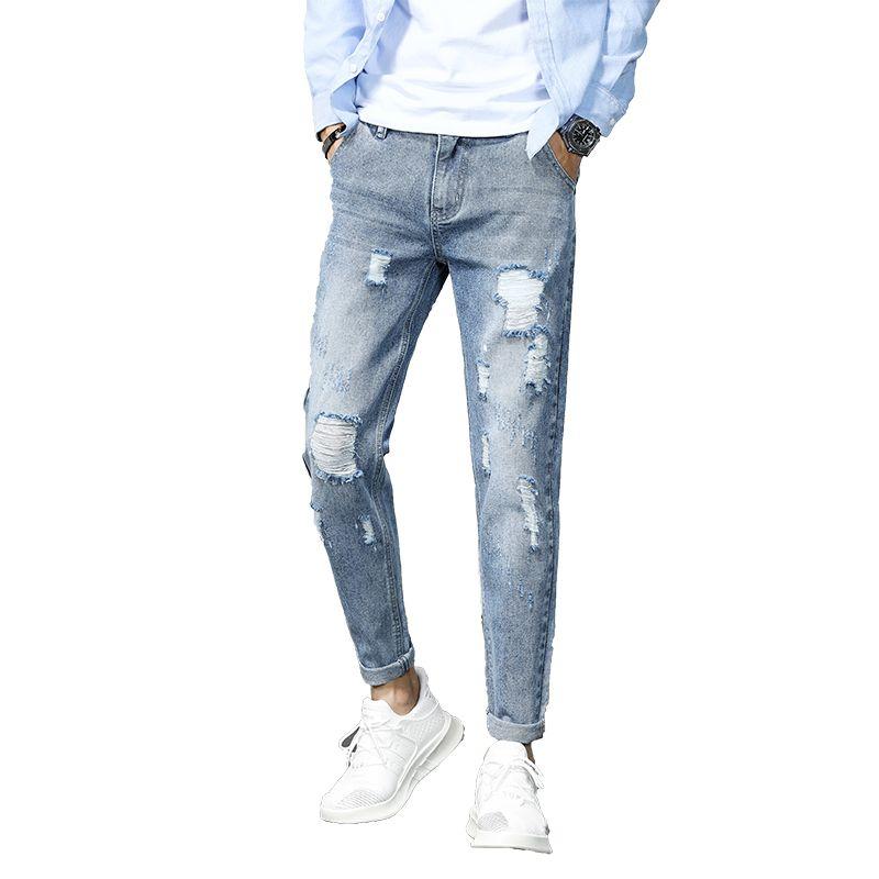 Compre 2019 Pantalones De Algodon Para Hombres De Jean Vintage Hole Pantalones Frescos Chicos Verano Europa Estilo America Tallas Grandes 27 36 Jeans Rasgados Hombres H818 A 19 11 Del Cupidcloth Dhgate Com