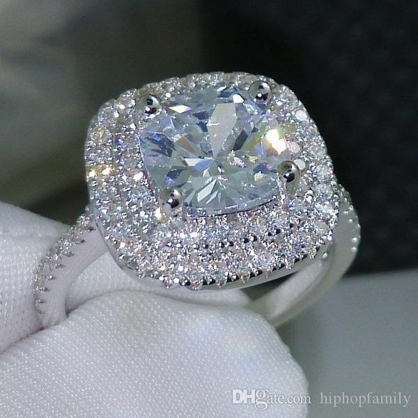 Luxo anéis de casamento das mulheres Moda Prata Gemstone anéis de noivado para as mulheres jóia do casamento simulado anel de diamante Para