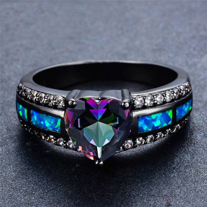 Key4fashion Charm Multicolor Heart Zircon Blue/Purple/Green Colorful Stone Ring Women's Vintage Black Gold Opal Black Gun Opal Birthstone