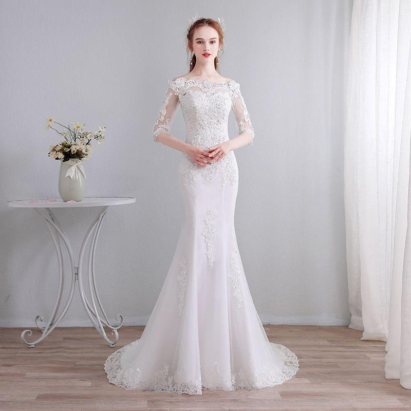 Fora Do Ombro Apliques de Renda Sereia Vestidos De Noiva 2019 Trem da Varredura Vestido de Noiva Lace Up Vestidos De Casamento