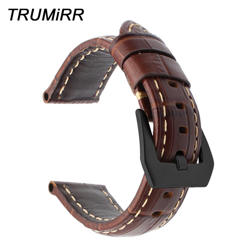 Italiano Genuine Leather Watchband 20/22/24 / 26mm Para Panerai Luminor Radiomir Assista Banda 316l Aço Inoxidável Clasp Wrist Strap T190702
