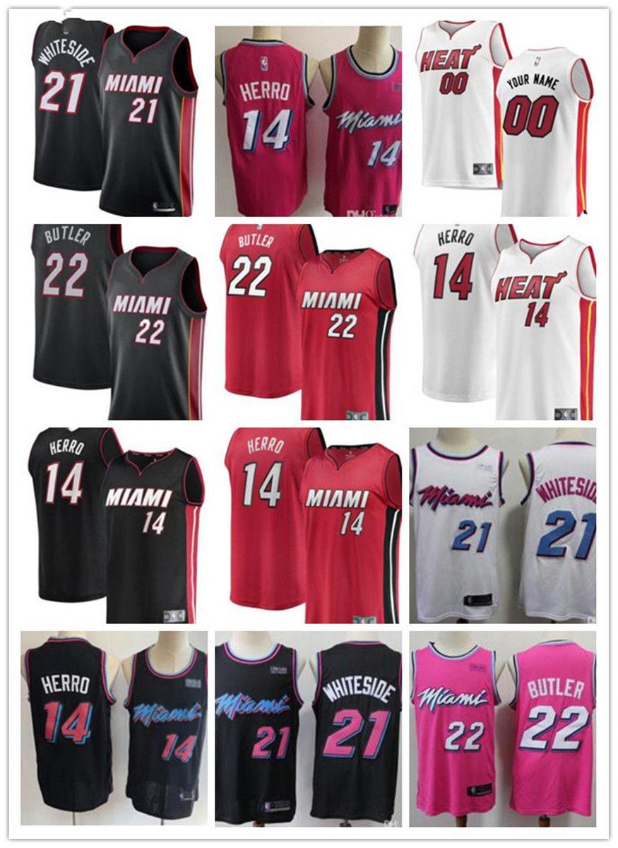 Frauen der Männer Jugend Miami 22 Jimmy Butler 14 Tyler Herro Hassan 21 Whitesides Custom Basketball Jerseys Hitze weiß schwarz rot freies Schiff