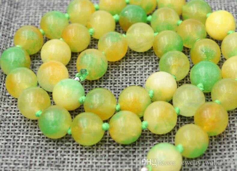 Kolye büyüleyici Hindistan yeşil renkli yeşim Yuvarlak boncuk