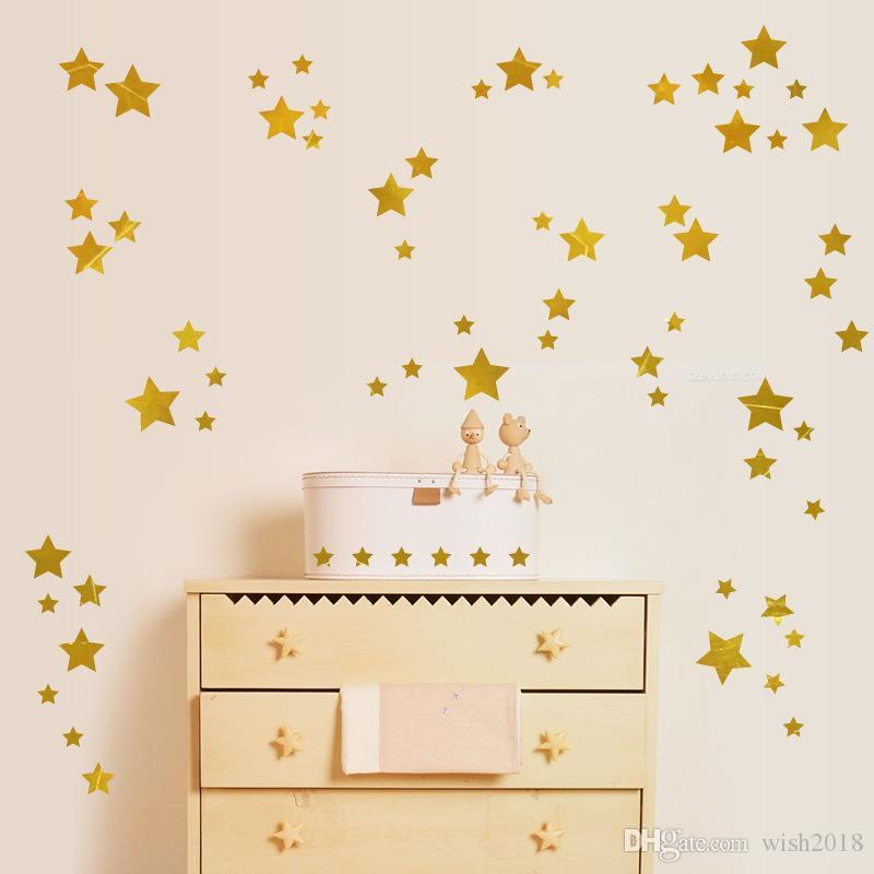 Adhesivos de pared en forma de estrella (189 unidades) Adhesivos de estrella en oro Adhesivos de vivero Calcomanías de pared de palo y cáscara removibles, Vintage Gold