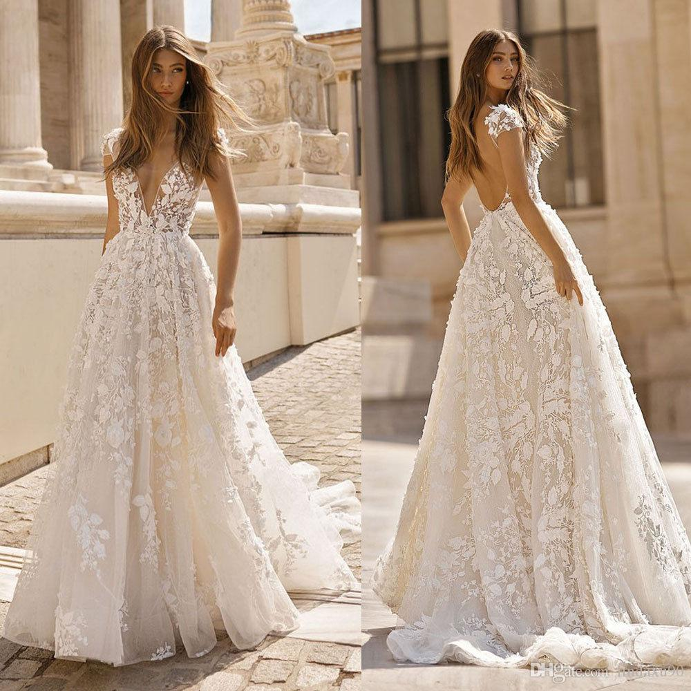 2019 Gorgeous Berta A Line Wedding Dresses Sexy V Neck Lace Appliqued Bridal Gowns Plus Size Cap Sleeve Beach Garden Wedding Dress