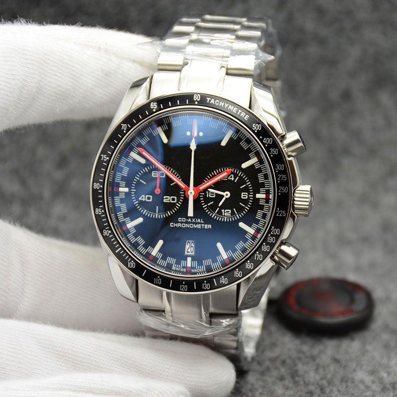 High Grade 44MM Кварцевый хронограф Мужские часы Красные Руки из нержавеющей стали Браслет Фиксированный безель с верхнего кольца Показаны тахометром Маркировки