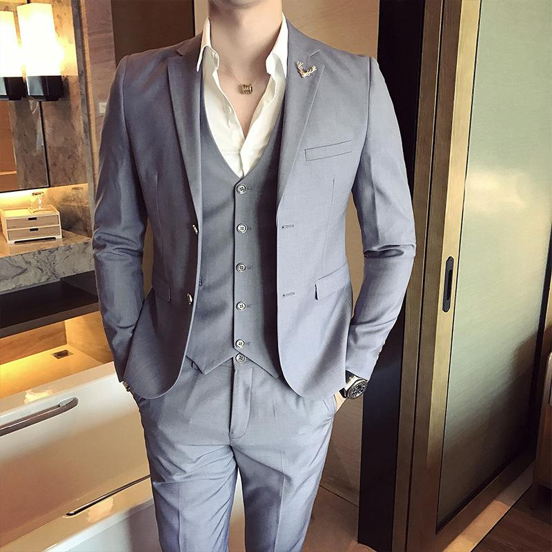 Costume De Mariage Homme 2019 Hommes Couleur Unie Couleur Pure Slim 3Pcs Ensembles Mâle Mâle Robes De Mariée Décontractées