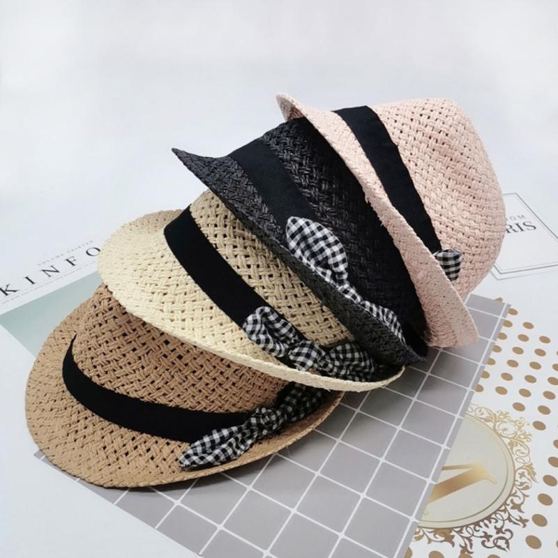 Bebé del verano del casquillo del sombrero niños respirables Jazz de moda sol playa sombrero de paja sombreros de Sun para niños Pescador Aire libre Caps