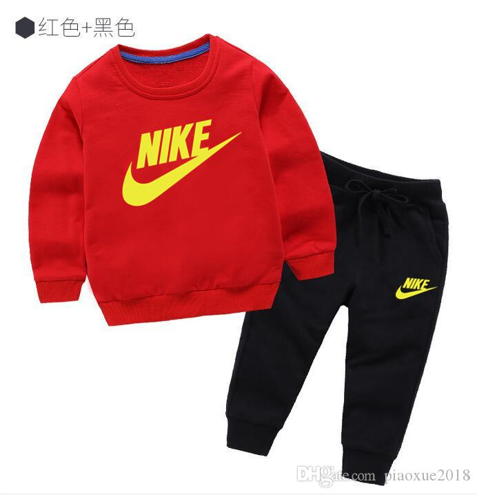 HOT classic Style Children's Clothing Boys And Girls Sports autumn Suit jacket sweater Baby Infant long Sleeve Clothes Kids Set 2-7 Age