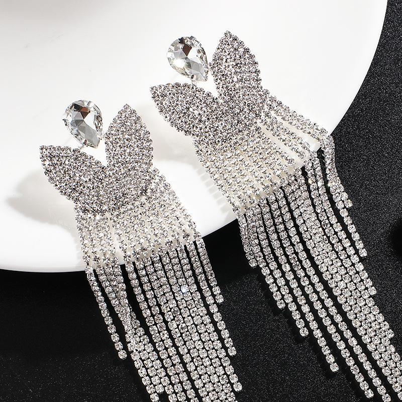 Kadınlar Düğün Aksesuar uzun Kristal Bırak Küpe için FARLENA Bildirimi Rhinestones Püskül Dangle Küpe