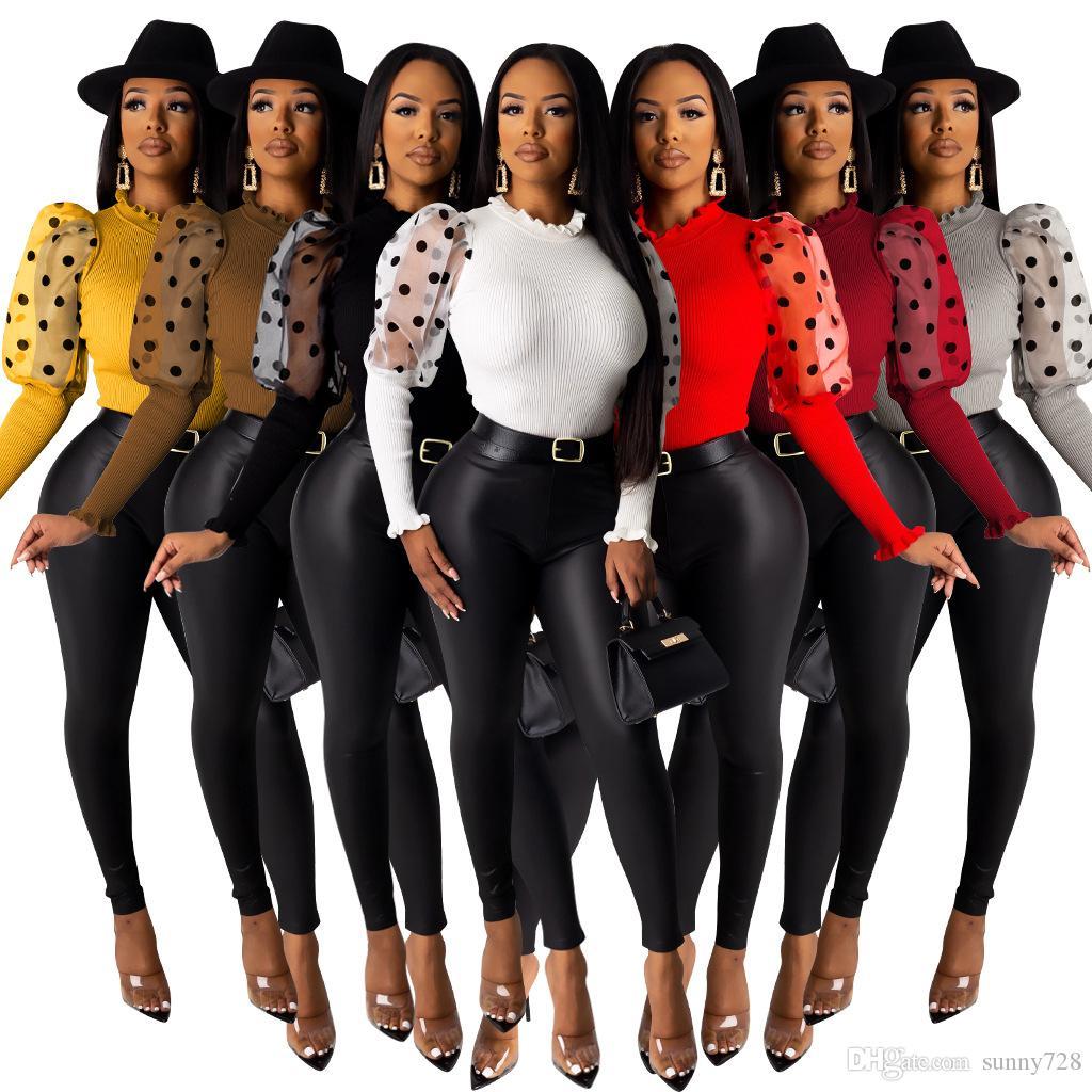 재고 높은 품질의 도트 메쉬 패치 워크 여성 T 셔츠 2020 핫 판매 스탠드 넥 푹신한 긴 소매 슬림 Bodycon 상단 및 티 7 색