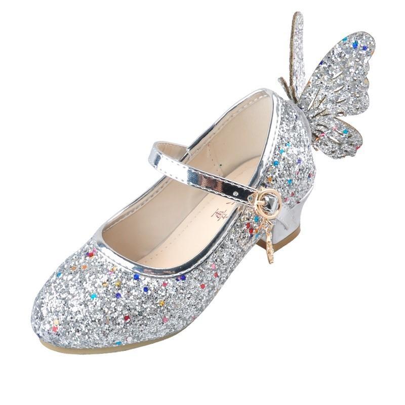 Ulknn Baby Princess Girls Shoes Sandals For Kids Glitter Butterfly Low Heel Children Shoes Girls Party Enfant Meisjes Schoenen Y19051303